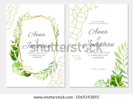 Wedding invitation green leaves geometric border stock vector wedding invitation with green leaves and geometric border floral invite modern card template set stopboris Choice Image