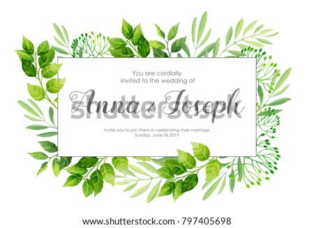 Wedding invitation green leaves border vector stock vector royalty wedding invitation with green leaves border vector illustration stopboris Image collections