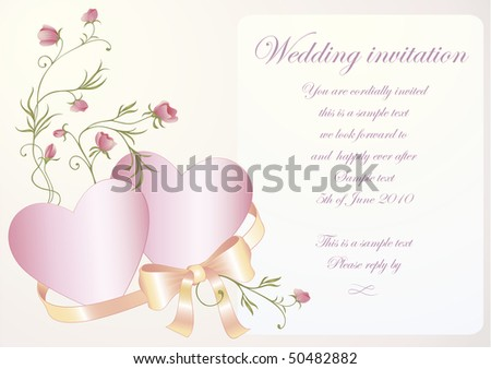 Wedding invitation with hearts and a silk ribbon