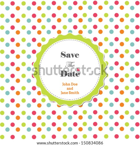 Wedding invitation with polka dot background and frame, romantic template - stock vector