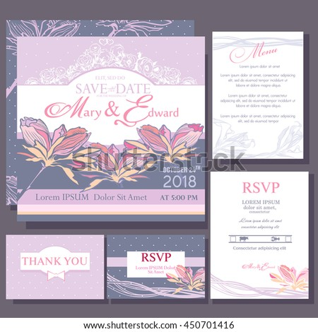 Wedding invitation with simple flowers. Design of the RSVP, Menu