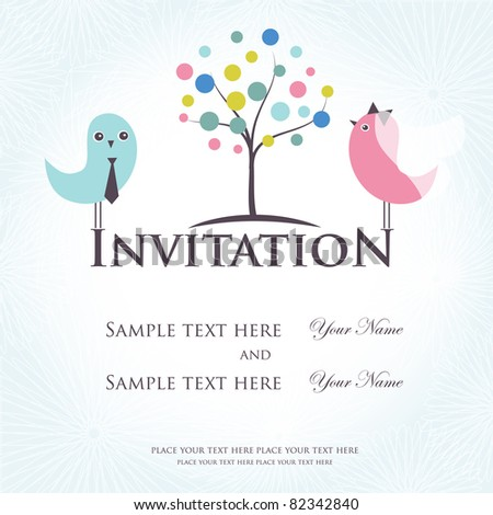 Wedding invitation with two cute birds in bride and groom costumes - stock vector