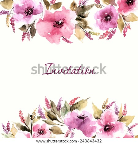 Wedding invitation with watercolor flowers. Birthday floral card. Floral background. Watercolor floral bouquet. Floral decorative frame. - stock vector