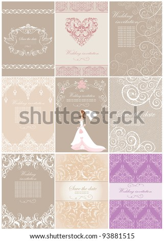 Wedding invitations - stock vector