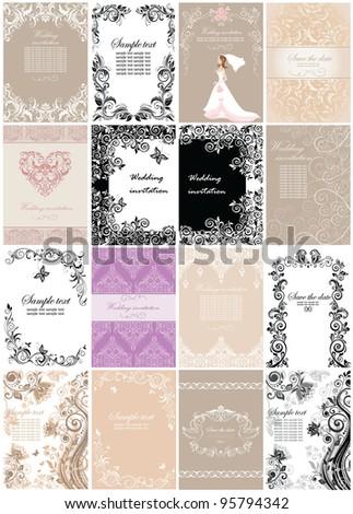 Wedding invitations. Set. - stock vector