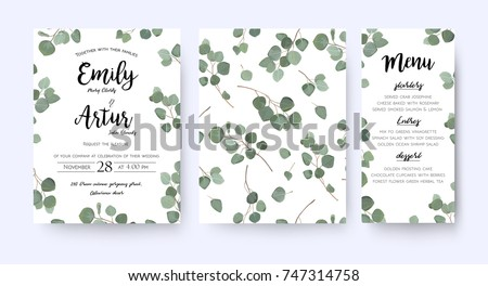 Wedding invite invitation menu card vector stock vector 747314758 wedding invite invitation menu card vector floral greenery design forest eucalyptus branches green leaves stopboris Images