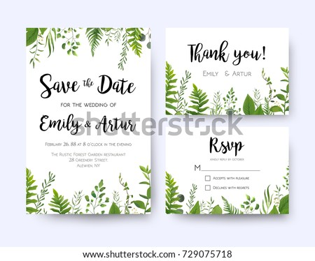 Wedding invite invitation menu rsvp thank stock vector 729075718 wedding invite invitation menu rsvp thank you card vector floral greenery design forest fern stopboris Images