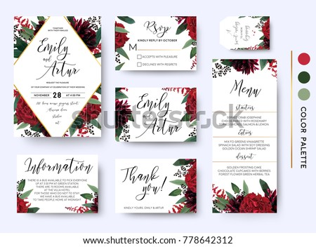 Wedding invite invitation save date rsvp stock vector royalty free wedding invite invitation save the date rsvp thank you information cards set vector watercolor stopboris Images