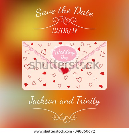 Wedding letter decorated with lace and texture of hearts over abstract colorful blurred vector background. Element for wedding designs, website, logo, and other. Greeting card template, Save the Date. - stock vector