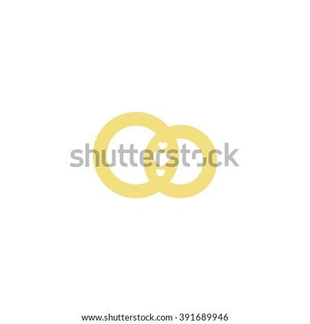 Wedding Logo Gold Wedding Ringsstylized Engagement Stock Vector