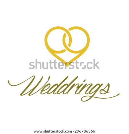 "Wedding logo. Two wedding rings, creating a heart shape, with ""Weddrings"" sign. vector logo - stock vector"