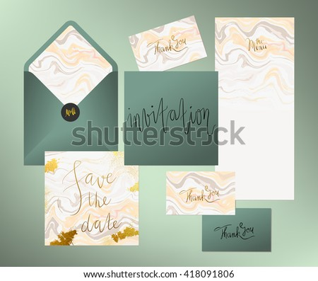 Wedding marble textured invitation suite. Invitation card, menu and envelope vector templates with peach pink and grey liquid acrylic drips and hand written golden calligraphy elements.