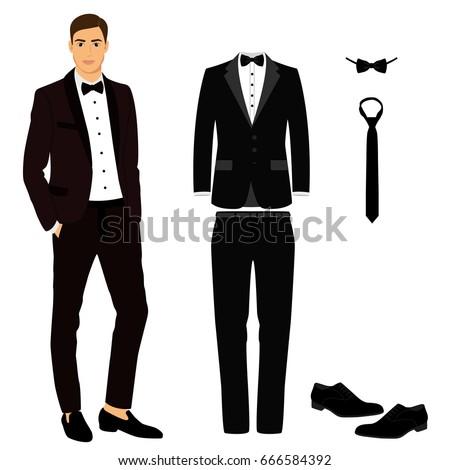 wedding mens suit shoes tuxedo collection stock vector 666584392