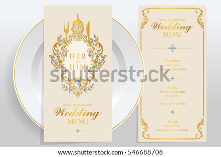 Wedding Menu Card Templates Gold Patterned Stock Vector 546688708 ...
