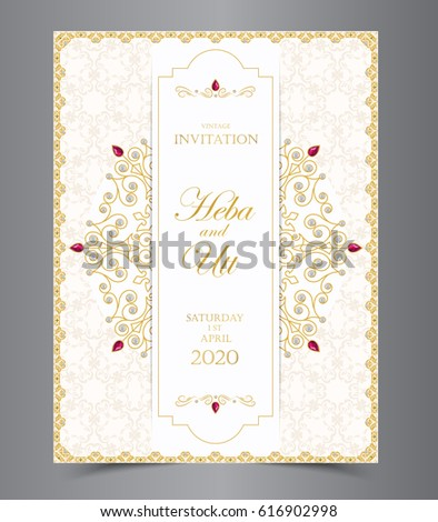Wedding invitation card vintage style crystals stock vector wedding or invitation card vintage style with crystals abstract pattern background vector element eps10 illustration stopboris Choice Image