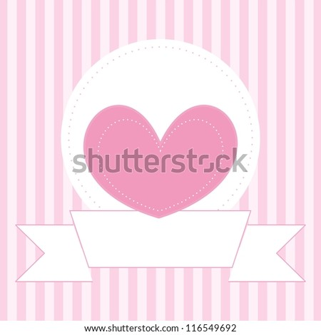 Wedding or valentines vector card, baby shower invitation or other document template with sweet pink heart on cute background and white place to put your own text message - stock vector