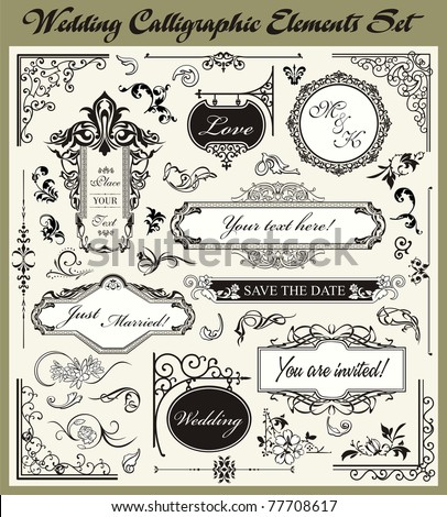 Wedding Ornamental and Calligraphic Designs Set - stock vector
