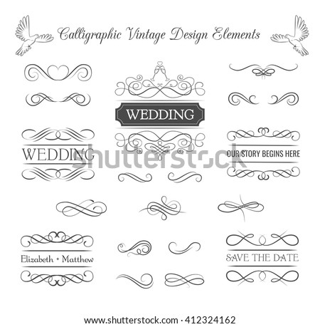 Wedding ornaments decorative elements vintage ribbon stock vector wedding ornaments decorative elements vintage ribbon frame badge vector love element wedding junglespirit Image collections