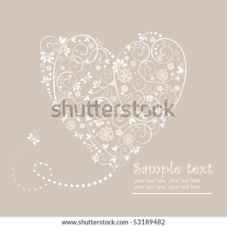 Wedding pastel card with heart - stock vector