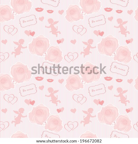 Wedding pattern with angel and roses