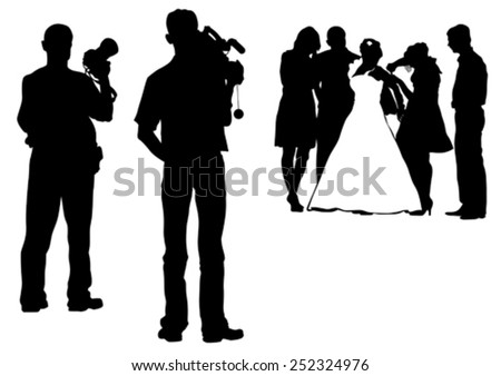 Wedding photographer and bride whit groom on white background - stock vector