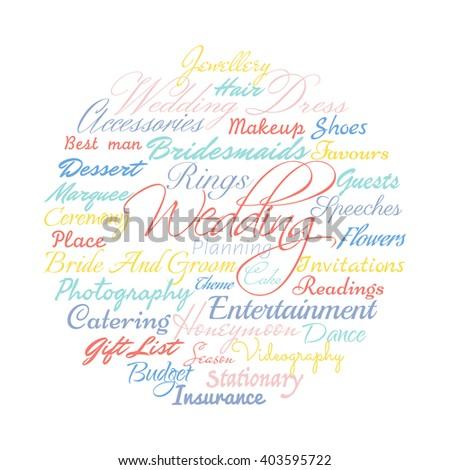 Wedding planning related words, Vector cloud. - stock vector