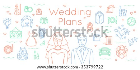 Wedding elements stock images royalty free images vectors wedding plans thin line flat vector background modern horizontal linear illustration of bride and groom junglespirit Choice Image