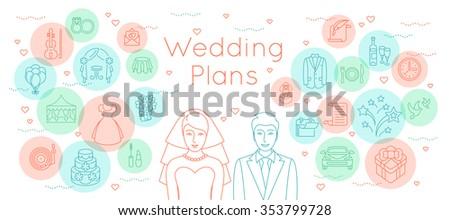 Wedding plans thin line flat vector stock vector 353799728 wedding plans thin line flat vector background modern horizontal linear illustration of bride and groom junglespirit Choice Image
