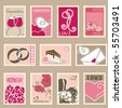 wedding postage stamps set - stock vector