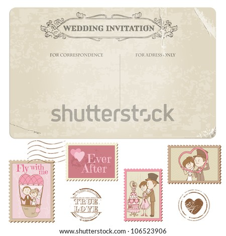 Wedding Postcard and Postage Stamps - for wedding design, invitation, congratulation, scrapbook - stock vector