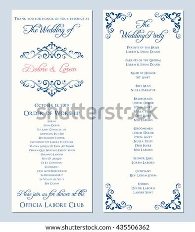 Wedding Program Template Vector Illustration Stock Vector - Wedding program sign template