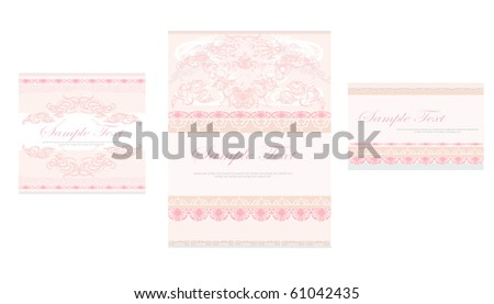 wedding reception card set - stock vector