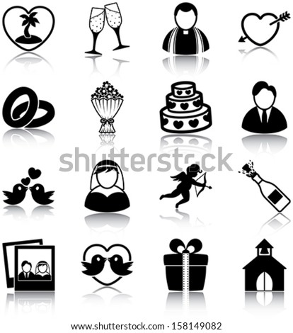 Wedding related icons/ silhouettes. - stock vector