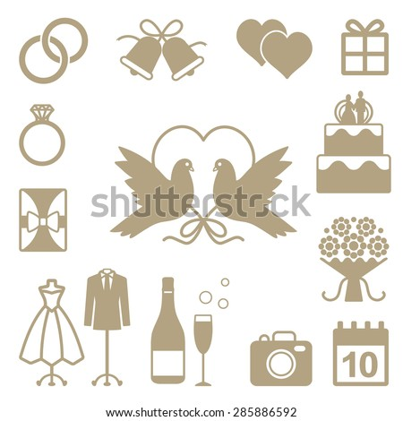 Wedding related vector silhouette icons set - stock vector