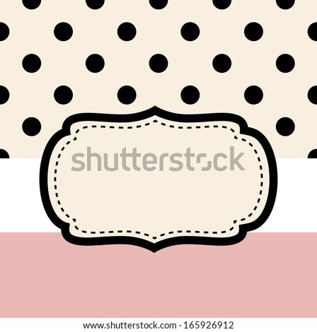 Wedding retro frame or invitation card ( pink & black )  - stock vector