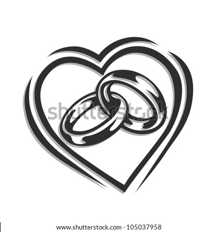 Wedding Ring Heart Vector Illustration Isolated Stock Photo Photo