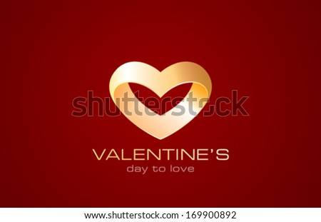 Wedding ring of Heart shape vector logo design template. Creative love Jewelry & Fashion marriage concept icon. Happy Valentine's day! - stock vector