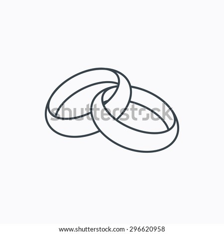 Wedding Rings Icon Bride And Groom Jewelery Sign Linear Outline On White Background