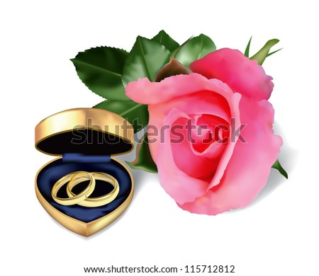 Wedding rings in golden box in the form of heart and beautiful pink rose. (Used mesh tool).