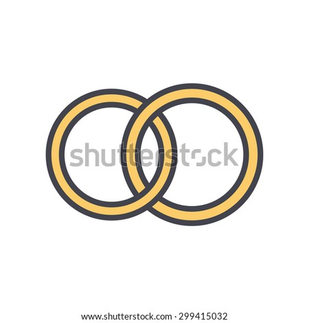 Wedding Rings Outline Color Icon Modern Stock Vector 299415032
