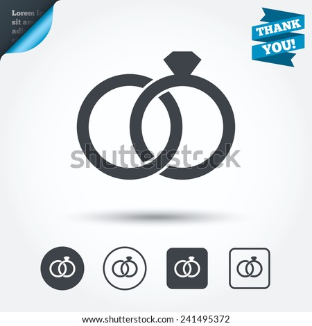 Wedding Rings Sign Icon Engagement Symbol Stock Vector Royalty Free