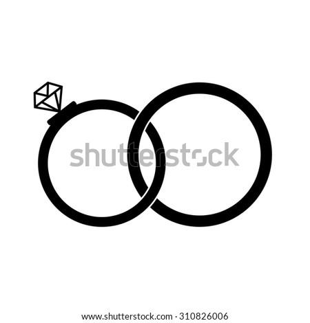 wedding rings diamond black silhouette on stock vector