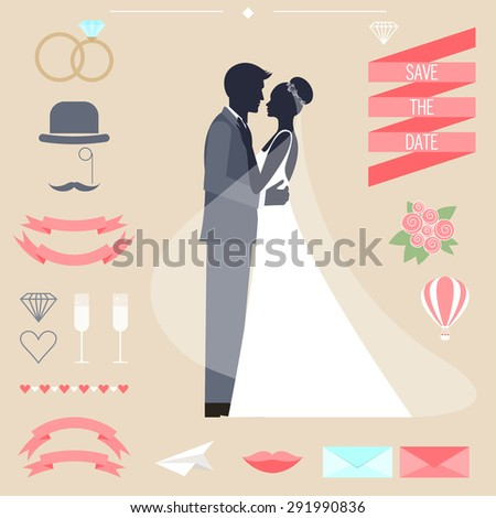 wedding romantic collection with bride, groom silhouette and cartoon decorative elements isolated on beige background for use in design for card, invitation, poster, banner, placard, billboard cover - stock vector
