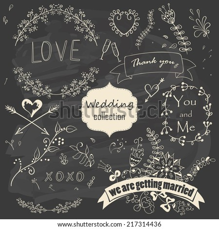 Wedding romantic collection with floral decorations, ribbons, arrows and hearts. Hand drawing vintage set on chalkboard background. Vector illustration. - stock vector