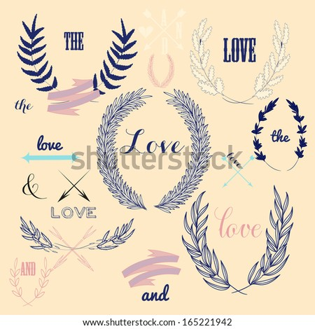 Wedding romantic collection with labels, ribbons, hearts, flowers, arrows, wreaths, laurel and birds. Graphic vintage set on chalkboard background. Save the Date invitation in vector. - stock vector