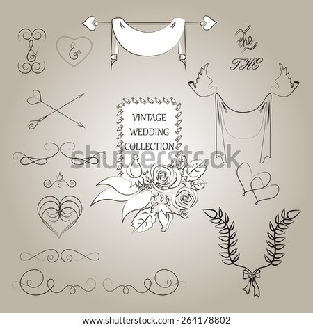 Wedding romantic collection with labels, ribbons, hearts, flowers, arrows, wreaths, laurel and birds, doves. Save the date. - stock vector