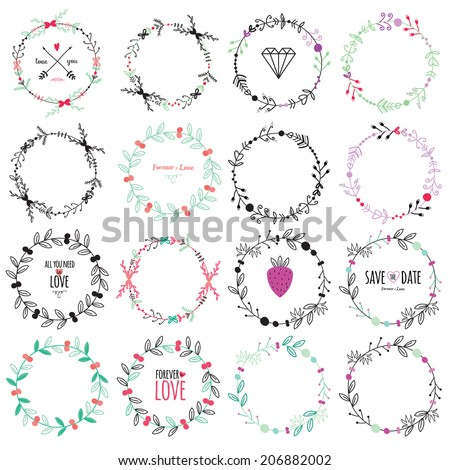 Wedding romantic set with greeting hand drawn labels, ribbons, hearts, flowers, arrows, wreaths, laurel. Vintage romantic flowers set. Stylish save the Date elements in bright colors in vector. - stock vector