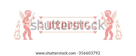 Wedding. Scheme of knitting and embroidery. Vector illustration. - stock vector