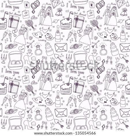Wedding seamless pattern - stock vector