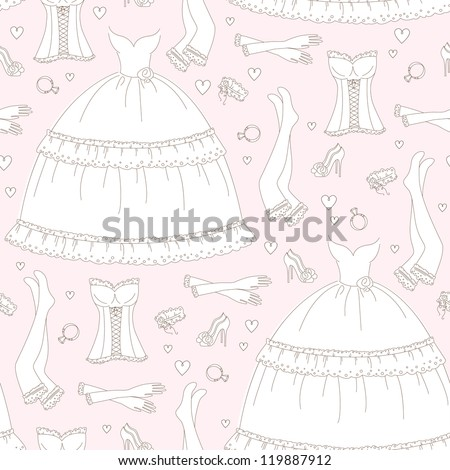 Wedding seamless pattern, hand drawing - stock vector